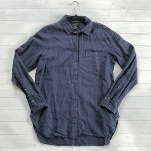 J. Crew Faded Navy Casual Button Up Linen Top Sz 6